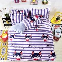 Wholesale teen bedding sets full online - Cartoon Dog Bedding Set Bed Linen Kids Girls Boys Baby Teens Children Stripe Duvet Cover Flat Sheet Pillowcase Bedclothes