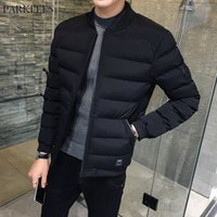 куртки прохладно воротник оптовых-Cool Black Winter Puffer Jacket Men Youth  Mandarin Collar Cotton Padded Winter Jackets Mens Short Qulited Winterjas Heren