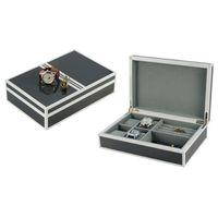 regarder les boutons de manchette achat en gros de-SONNY luxe en bois Cufflink Watch Boîtes de présentation de bijoux Organisateur de stockage de bijoux avec 4 Slots Watch Case pour femmes hommes Collection Boxe