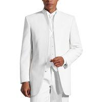 mandalina düğün smokinleri toptan satış-Yakışıklı Custom Made Groomsmen Siyah Damat Smokin Mandarin Yaka En İyi Erkek Damat Düğün / Balo / Akşam Yemeği Takımları (Ceket + Pantolon + Kravat + Yelek)