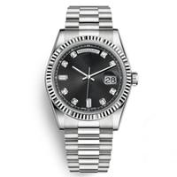 ingrosso diamanti d'argento orologi gli uomini-Hot New orologio da uomo 40 MM nero orologio vestito quadrante diamante movimento automatico argento presidente strass orologio da polso Chorno Montre