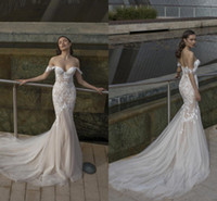 Wholesale ivory dresses resale online - Romantic Elegant Off Shoulders Sweetheart Mermaid Wedding Dresses with White Lace Appliques Tulle Wedding Bridal Gown BC2317