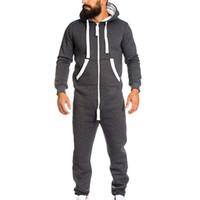 koyu gri hoodie toptan satış-M-XXXL erkek Unisex Tulum Tek parça giysi Olmayan Ayaklı Pijama Tulum Bluz Hoodie Koyu Gri Siyah Gri Lacivert Drop Shipping