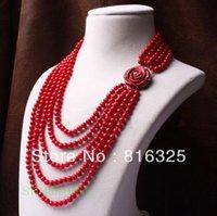 korallen perlen blumen großhandel-Jewelryr Perlenhalskette Recht Perlen der roten Koralle bördelten multi geschnitzte silberne Halskette der rosafarbenen Blume mit 5 Reihen Freies Verschiffen