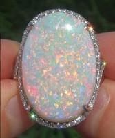 natürliche edelsteine 925 silber ringe großhandel-Große 925 Sterling Silber Natürliche Edelstein Feueropal Diamant Ring Hochzeit Engagement Frauen Modeschmuck