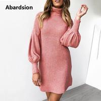 ingrosso vestito sciolto del turtleneck-Abardsion donne maglione vestito da autunno inverno i vestiti 2019 Femmina casuale allentato rosa Puff manica lunga dolcevita abiti in maglia