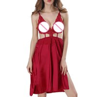 ingrosso chemise sexy vestito-Lingerie sexy per le donne Lace up Babydolls Chemise Chemise Backless Dress + G-string Sleepwear Abiti esotici Costumi sexy