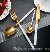 Wholesale piece flatware for sale - Group buy DLM2 piece Flatware Set Luxury High Quality Stainless Steel Cutlery Set Black Handle Gold Dinnerware Dessert Spoon Fork Knife wn583D