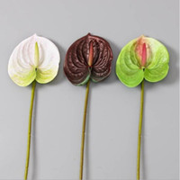 ingrosso anthurium-Matrimonio Casa Decorative Fiori Artificiali Anthurium 3D stampa PU succulenta anthurium 68 centimetri di altezza