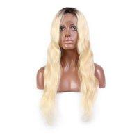 Wholesale brazilian human hair wigs resale online - 1B Blonde Ombre Color Remy Brazilian Full Lace Wig Long Pre Plucked Glueless Lace Front Human Hair Wigs for Black Women