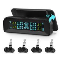 lcd vdo, audi'i göster toptan satış-AutoLover C260 Lastik Basıncı İzleme Sistemi Güneş TPMS Evrensel 4 Gerçek Sensörler ile Gerçek zamanlı Test LCD Ekran