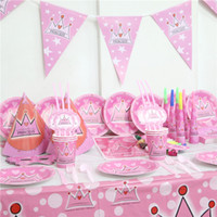 princesa corona decoraciones al por mayor-162 unids / lote Princesa Theme Cups Kids Favors Crown Straws Banners Baby Shower Mantel Fiesta de Cumpleaños Decoración Conjunto Placas Suministros