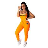 tek parça pantolon kıyafeti toptan satış-Yaz Şampiyonlar Mektup Tek Parça Tank Eşofman Yelek Mayo + Pantolon Spor Kolsuz Kıyafet Bikini Mayo 2 Parça Spor Seti C42901