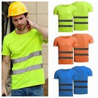erkek kıyafeti toptan satış-İşçi Yüksek Görünürlük Emniyet Giyim Yaz Nefes Erkek Kadın Çalışma tişört Outdoors Binme Yansıtıcı tişört ZZA1246 10PCS