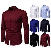 resmi gömlek giyen adam toptan satış-Erkekler Düğün Gömlek Uzun Kollu Yaka Elbise Gömlek Moda İş parti Katı Düğmeler Ile Rahat Gömlek Iş Elbisesi Erkek Resmi Ince Gömlek