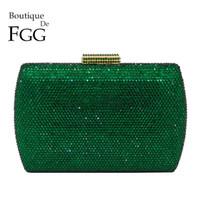 akşam vakti debriyaj çantası toptan satış-Butik De Fgg Zarif Yeşil Zümrüt Kristal Kadınlar Akşam Çanta Metal Hard Case Düğün Yemeği Elmas Clutch Bag Y190626