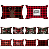 Plaid Throw Pillow Case Covers Christmas Red Series Cushion Case Cotton  Polyester For Sofa Home Car Decoration 30*50cm XD22624