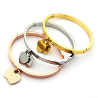 ingrosso fascino di pesca argento-lusso titanio acciaio classico doppio Peach cuore fascino amore bracciali braccialetti per le donne in oro rosa argento cuore amanti gioielli all'ingrosso