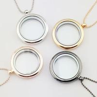 Wholesale transparent charm locket resale online - 30mm floating locket DIY Jewelry transparent glass frames floating charm lockets pendants