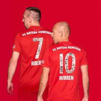 polices de maillot de football achat en gros de-Police spéciale avec # 7 RIBERY # 10 ROBBEN Maillots de football Bayern 19/20 Bayern Munich Maillots de foot # 13 Uniformes de football RAFINHA Drop shipping