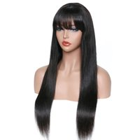 Wholesale small cap human hair wig for sale - Group buy My queen hair Swiss lace human wigs silk straight Brazilian Hair Swiss Lace Cap with bang For Black Women
