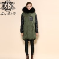 дамы зеленые парки оптовых-Women parka outwear warm sheepskin sleeve army green coat fashion long jacket black ladies fur coats