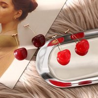 Wholesale acrylic flowers jewelry for sale - Group buy New Fashion Red Cherry Fruit simple Earrings For Women Tassel Dangle Earrings Sweet Long Pendant Girl Gift Summer Korea Jewelry