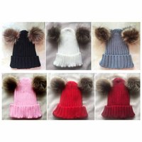 Wholesale fur family resale online - Family Matching Knitted Hat Bebe Hat Lady Autumn And Winter Cap Double Balls Accoon Fur Cap Daughter Hat