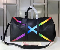 Wholesale women large leather bags resale online - Classic Rainbow X Shape Large Travel Bag Pillow Duffle Bags Luggage Handbag Real Leather Capacity Sport Bag Shoulder Crossbody Bags