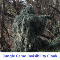 trajes de caza de camuflaje al por mayor-Brand New 3D Universal Trajes de Camuflaje Woodland Ropa Ajustable Tamaño Ghillie Suit Para Caza Ejército Tactical Sniper Set Kits