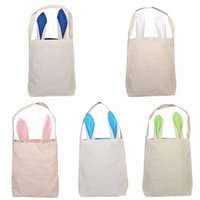 Wholesale easter candy eggs for sale - Group buy Rabbit Ears Burlap Easter Basket Cartoon Kids Candy Basket Cute Party Festival Gift Bag Easter Eggs Put Bags TTA1778