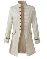 príncipe ropa al por mayor-Hombres Victoria Steampunk Abrigo Retro Outwear Vintage Príncipe Abrigo Medieval Renacimiento Chaqueta Traje Ropa de Halloween Hombres