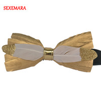 Wholesale mens tuxedo bow tie resale online - Party Gold Color Necktie Peacock Feather Bow Tie For Man Luxury Mens Tuxedo Dress Animal