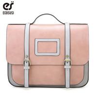 ECOSUSI New Women PU Leather Shoulder Bag Retro Handbag Women 13 Inch  Laptop Messenger Bags Vintage Briefcase for Work 0870d868d509a