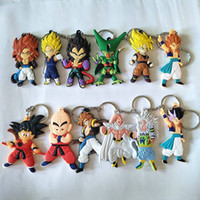 metal ejderha anahtarlık toptan satış-Anime Dragon Ball Z Anahtarlık Oğlu Goku Süper Saiyan Silikon PVC Anahtar Yüzükler Action Figure DBZ Kolye Anahtarlıklar Koleksiyonu Oyuncak