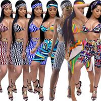 mayo kadın şortu toptan satış-2019 Yaz Marka Bikini Mayo Kadınlar tasarımcı seksi mayo Mayo Bandı Sutyen Şort 3 adet Set yüzme spor