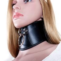 erwachsene bondage spiele groihandel-52 cm Sexy Schwarz PU Leder Halskette Erotische Keuschheit Halskragen Fetisch Halsreif Bondage Erwachsene Spiele Spielzeug