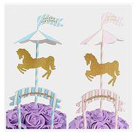 свадебные платья оптовых-Лошадь единорог торт топпер стенд единорог кекс обертка свадьба день рождения торт отделочных работ 2 цвета бесплатная доставка