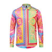 robes décontractées à imprimé léopard achat en gros de-2019 Nouveaux chemises pour hommes Lettre d'affaires Casual Shirt hommes habillés chemises manches longues Medusa Retro rayé de luxe imprimé polo shirt