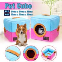 würfel haustiere großhandel-S / M Größe Haustier Hund Katze Bett Haus tragbare Zwinger Doggy Cube Cave Nest gemütliche Kissen Pad