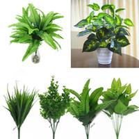 yapay yeşil bush toptan satış-Yapay Bitkiler Kapalı Açık Sahte Çiçek Yaprak Yeşillik Bush Ev Ofis Bahçe Dekor Yapay Yeşil Bitki Dekorasyon Bırakın