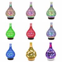 ingrosso vaso ad umidificatore a ultrasuoni-Fuochi d'artificio 3D LED Luce notturna Umidificatore a forma di vaso di vetro Aroma Olio essenziale Diffusore Foschia Umidificatore ad ultrasuoni Regalo RRA1678
