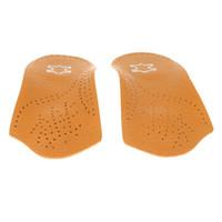 braune einlegesohlen groihandel-Brown Leather Arch Half Pad Plattfuß Einlegesohlen unsichtbare rutschfeste verdickte Half Pad für Männer und Frauen