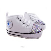 Wholesale toddler pink christmas shoes resale online - 2019 bling baby shoes rainestone girls shoes fashion canvas princess toddler shoes casual baby sneakers first walkers Y200404