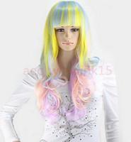 ingrosso parrucca colorata di moda-FREE SHIPPIN + + New Hot Fashion Medium Long Women Full Wigs Party Ricci colorati