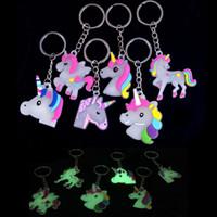 Wholesale led jewelry lights resale online - Glow In Dark Little Fairytale Unicorn Keychain Holder Chaveiro Bag Charm Key Chain Pendant Girl Women Gift Jewelry Llaveros