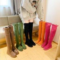 botas de naranja sobre la rodilla al por mayor-Moda sobre la rodilla de las mujeres de estiramiento verde naranja rosa Botas 2019 Nueva botas de invierno resbalón de las mujeres de la plataforma botas de goma Negro Bota