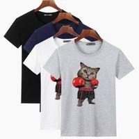 kutu karikatürleri toptan satış-Erkek Tasarımcı T Shirt Temel Baskı Dört renkli Boks Kedi Boyalı Karikatür Pamuk Connotation ile 100% Tasarımcı Yeni Rahat Erkekler