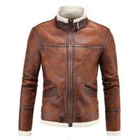yüksek yaka pu deri ceket toptan satış-Erkek high-end moda ceket 2019 kürk yaka erkek deri bir daha ceket kış sıcak Moda PU