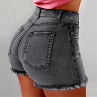 vestuário casual china venda por atacado-Cintura alta Jeans Hip Lift Shorts Lavar Frilled Calções Skinny Shorts Sexy Verão Shorts Jeans Mulheres Roupas Navio Da Gota 220223